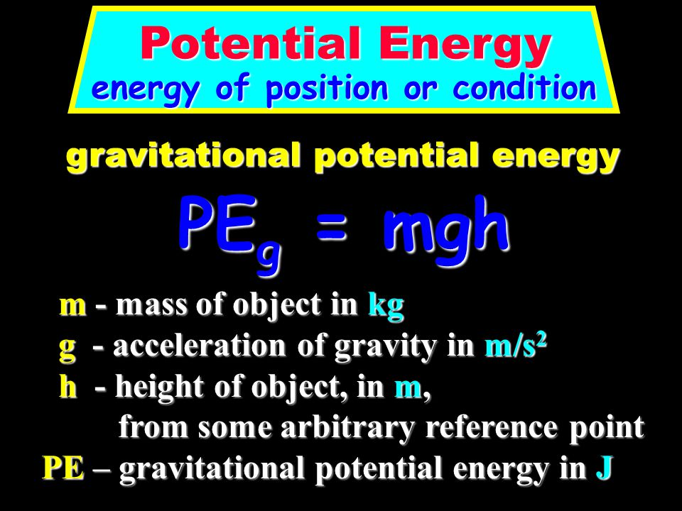 PEg = mgh Potential Energy energy of position or condition