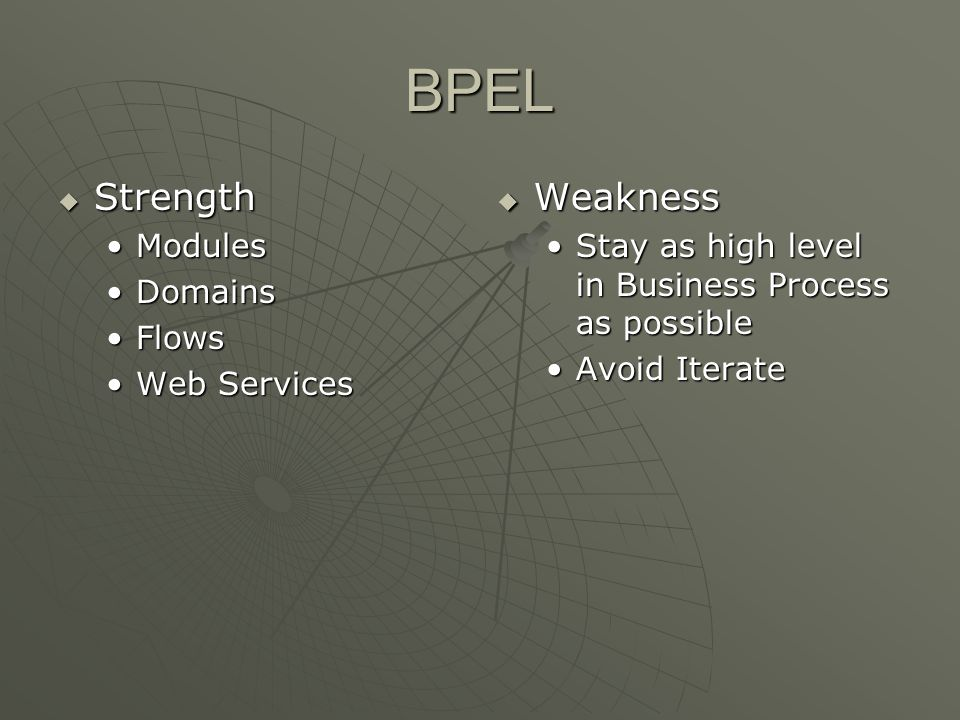 BPEL Strength Weakness Modules Domains Flows Web Services