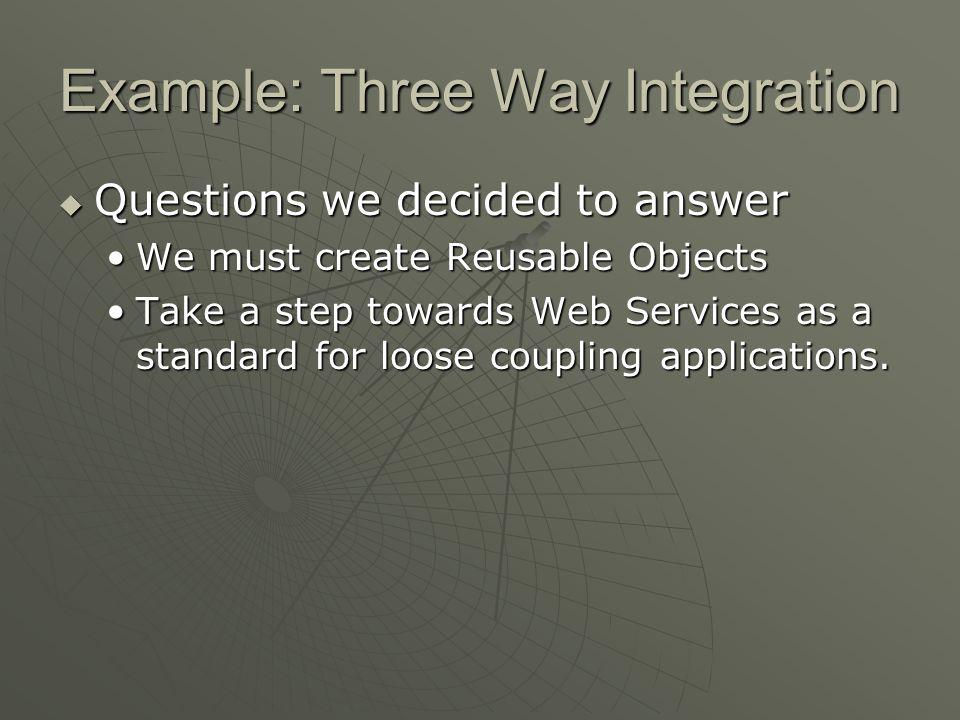 Example: Three Way Integration