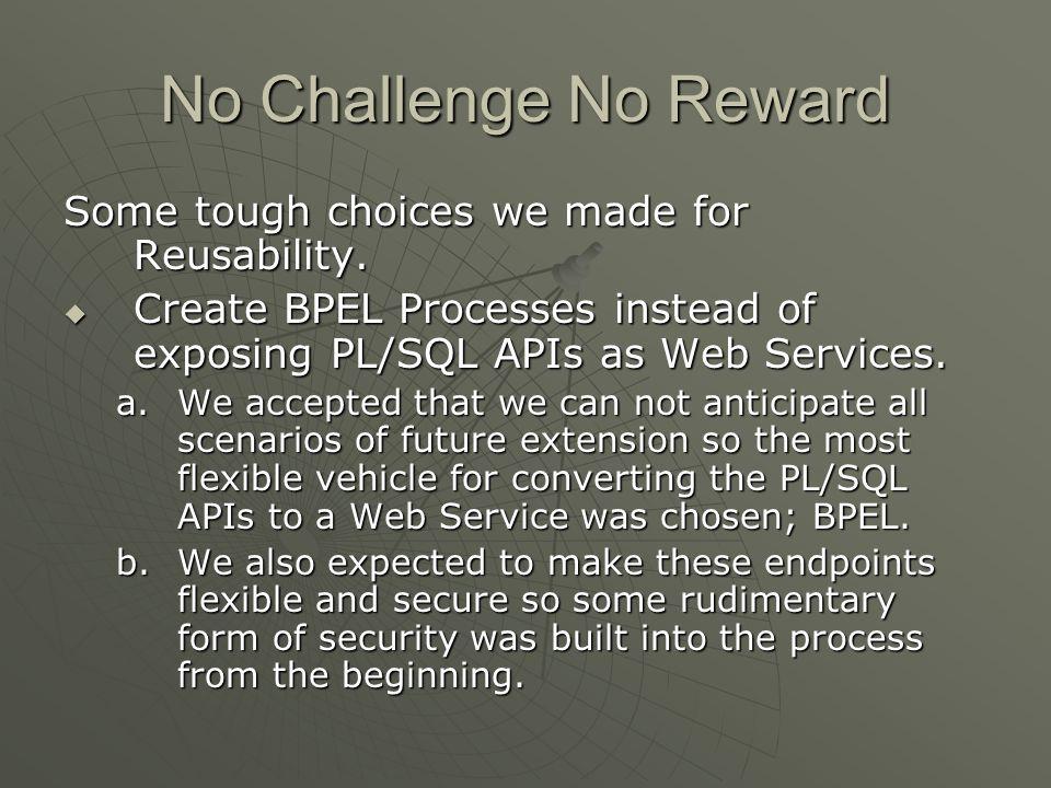 No Challenge No Reward Some tough choices we made for Reusability.
