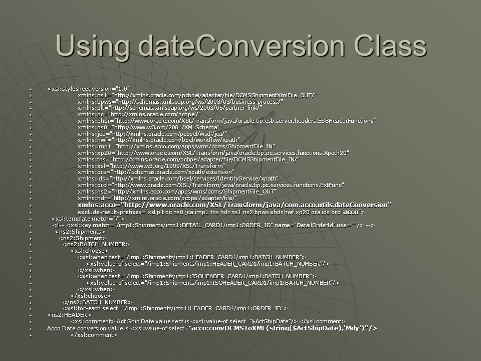 Using dateConversion Class