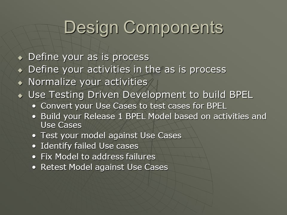 Design Components Define your as is process