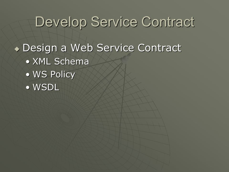 Develop Service Contract