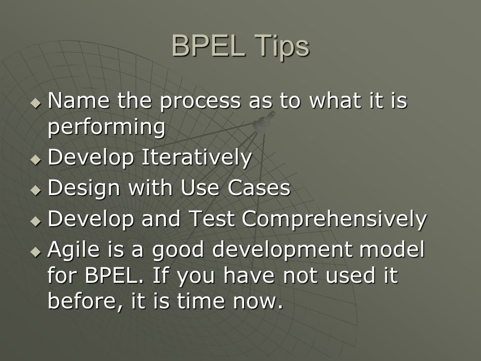 BPEL Tips Name the process as to what it is performing