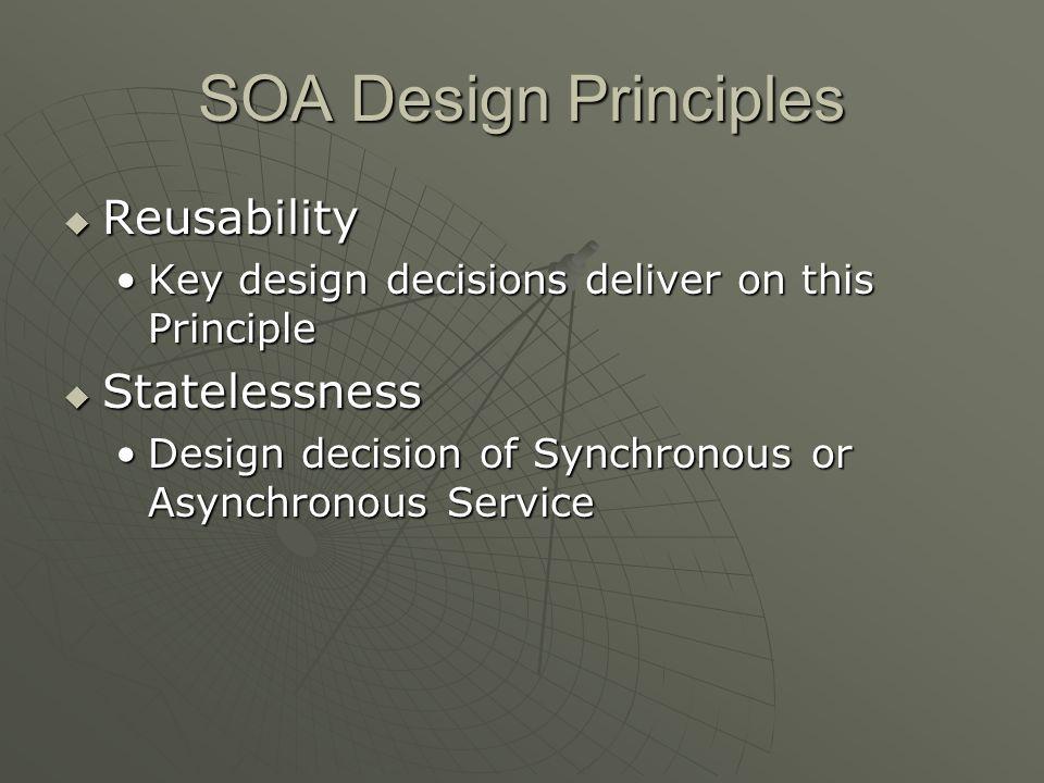 SOA Design Principles Reusability Statelessness