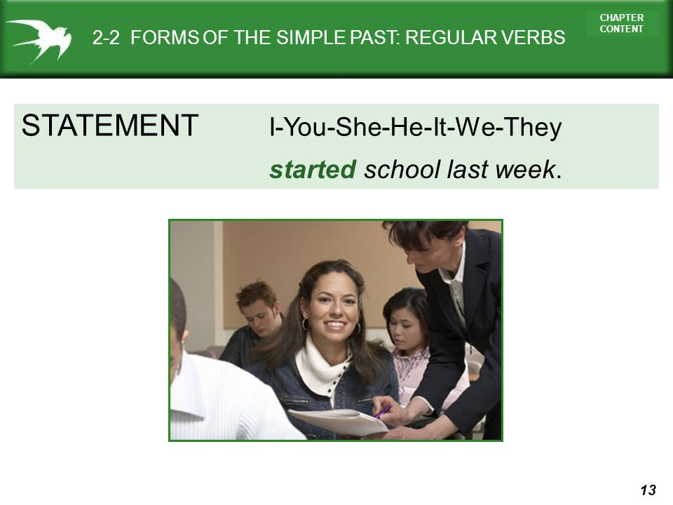 STATEMENT I-You-She-He-It-We-They started school last week.