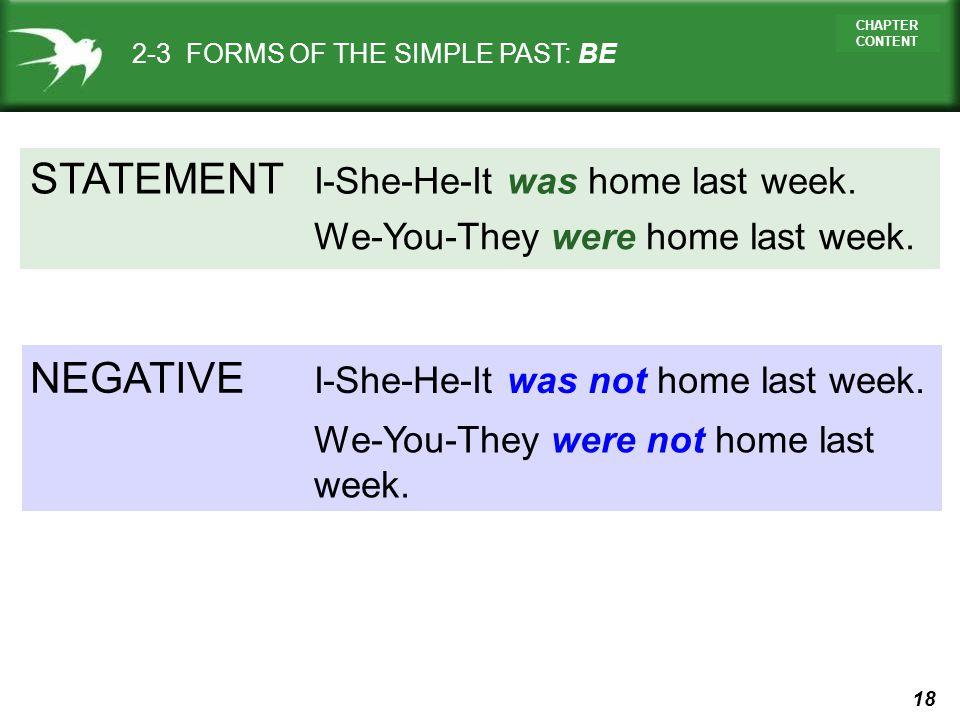 STATEMENT NEGATIVE I-She-He-It was home last week.