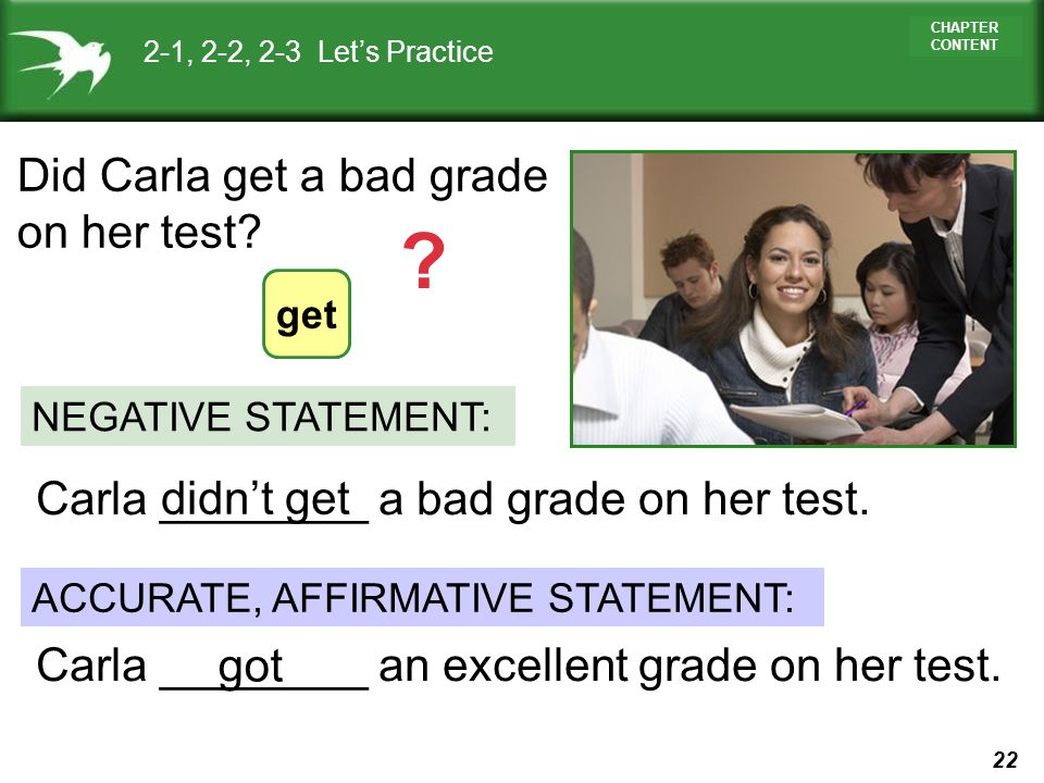 Did Carla get a bad grade on her test