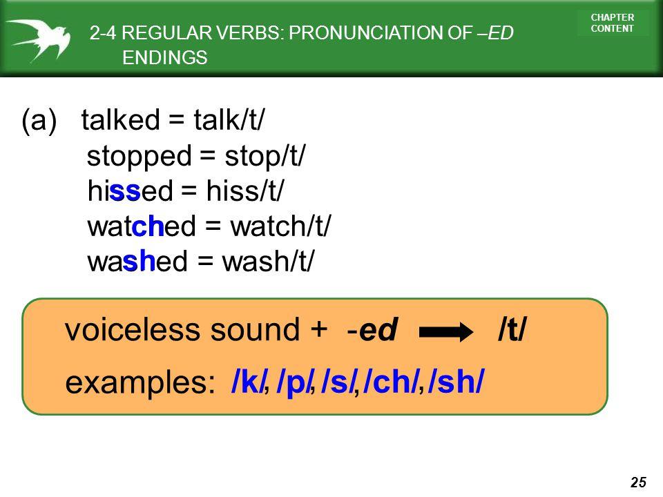 voiceless sound + -ed /t/