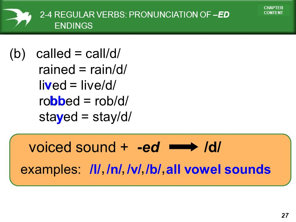 2-4 REGULAR VERBS: PRONUNCIATION OF –ED ENDINGS