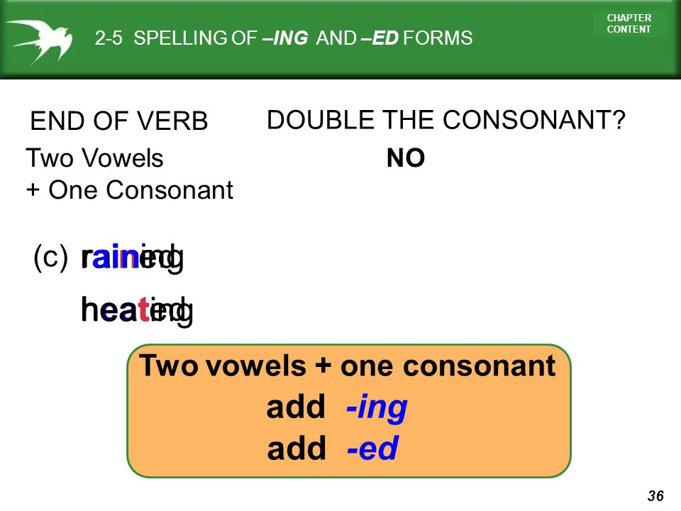 Two vowels + one consonant