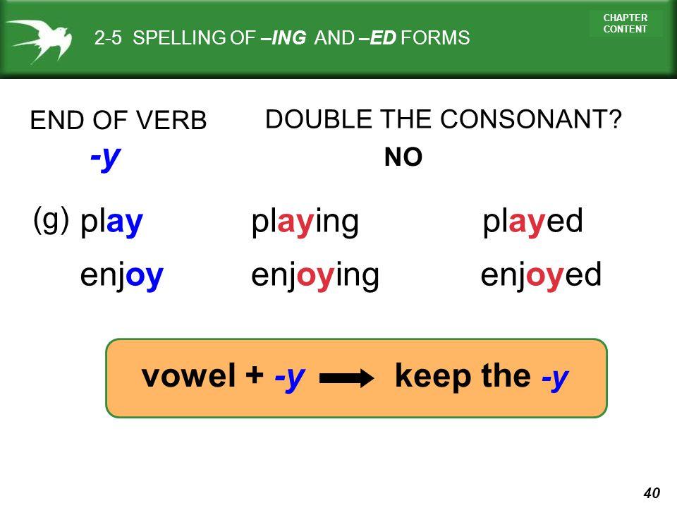 -y play playing played enjoy enjoying enjoyed vowel + -y keep the -y