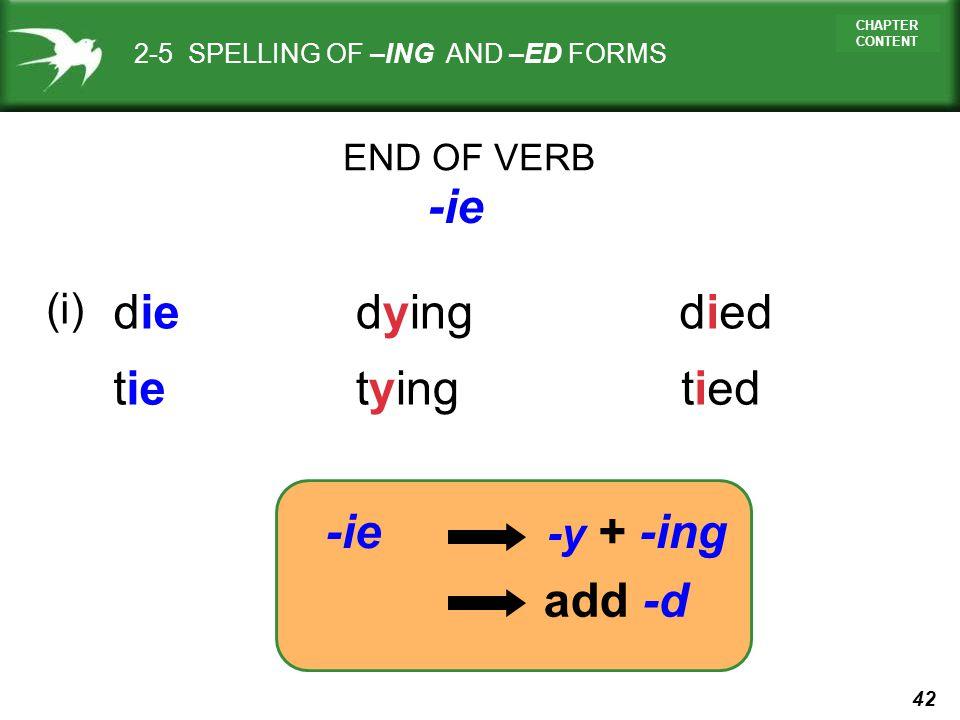 -ie die dying died tie tying tied -ie add -d (i) -y + -ing END OF VERB