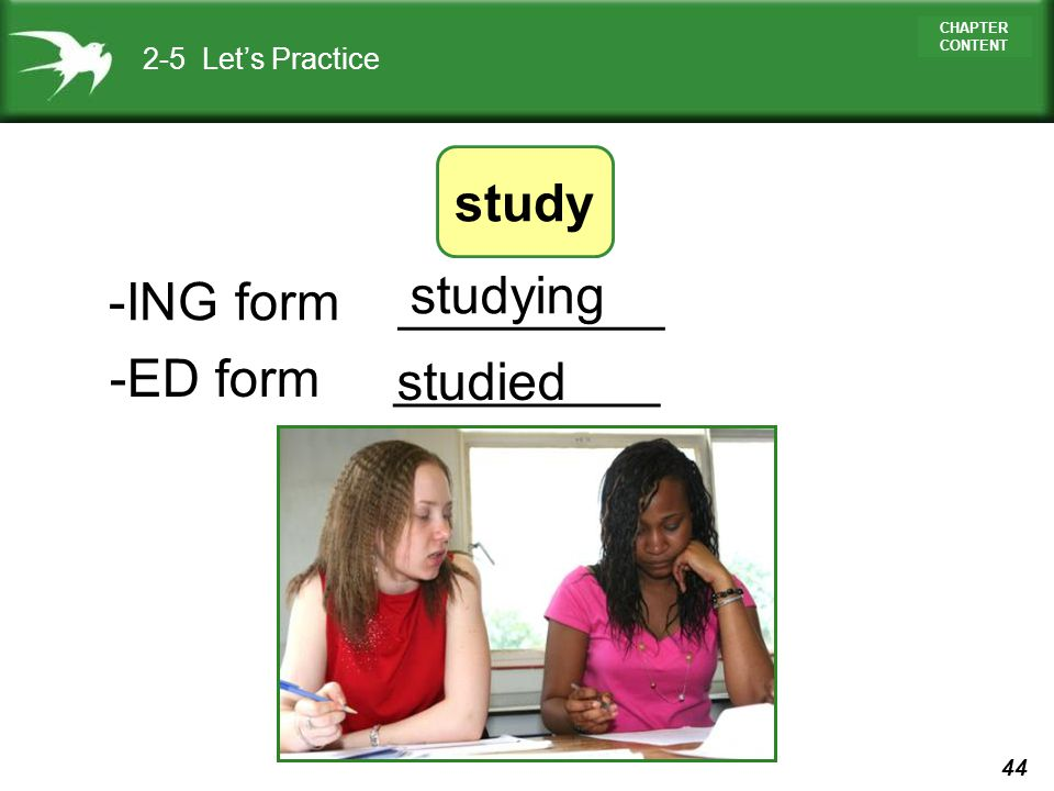 study studying -ING form _________ -ED form _________ studied