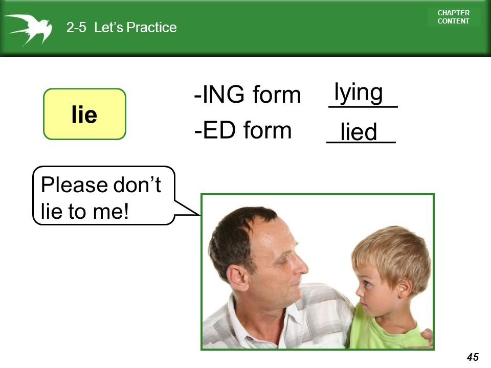 lying -ING form _____ lie -ED form _____ lied 2-5 Let's Practice