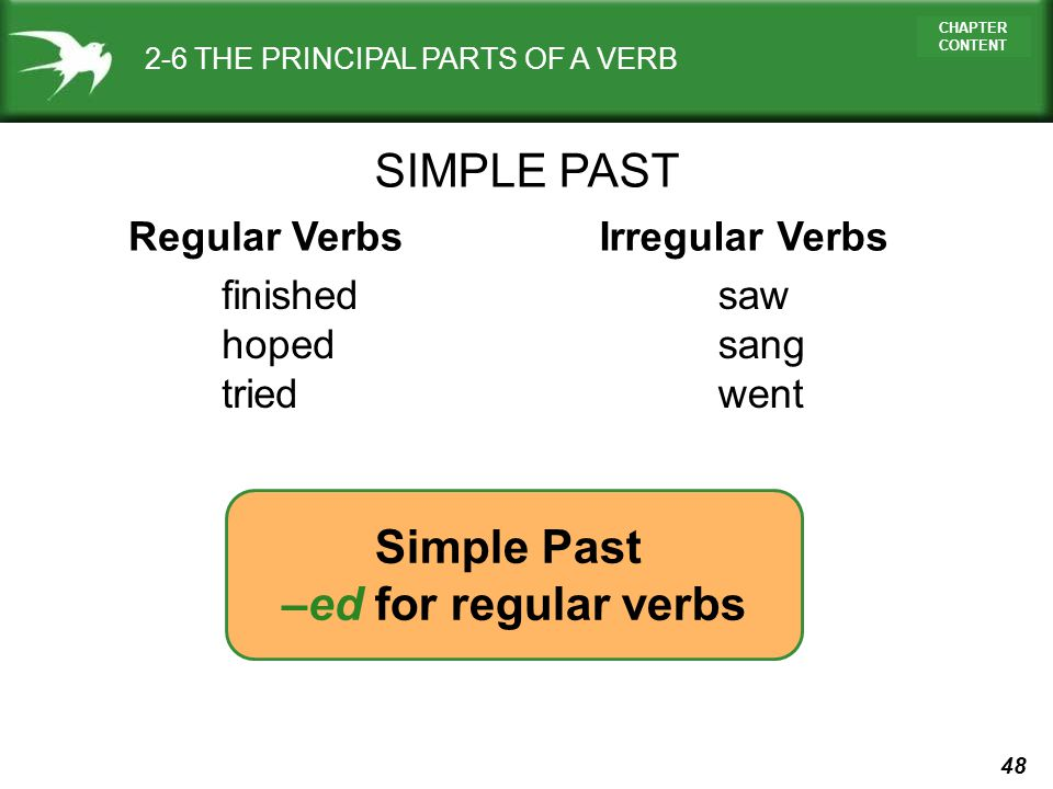 SIMPLE PAST Simple Past –ed for regular verbs Regular Verbs