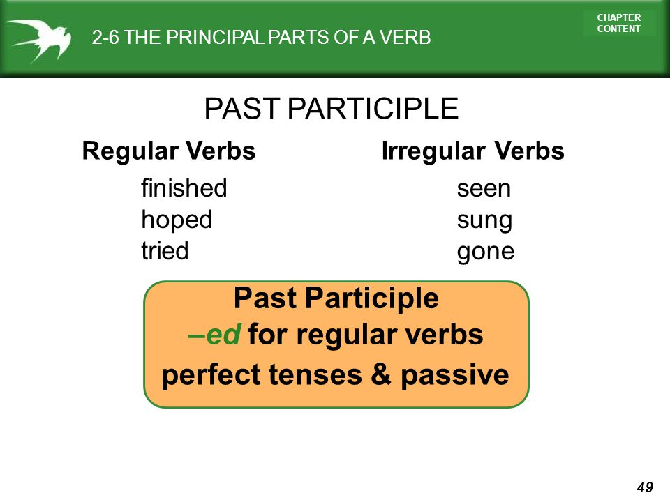 Past Participle –ed for regular verbs