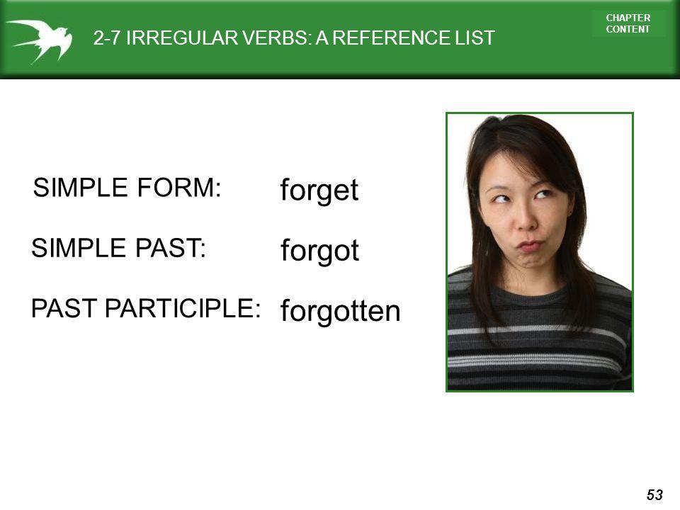 forget forgot forgotten SIMPLE FORM: SIMPLE PAST: PAST PARTICIPLE: