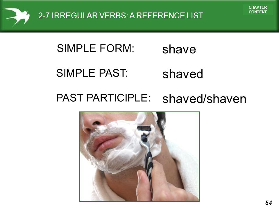 shave shaved shaved/shaven SIMPLE FORM: SIMPLE PAST: PAST PARTICIPLE: