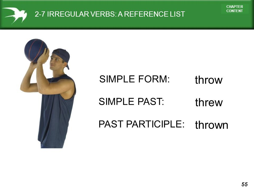 throw threw thrown SIMPLE FORM: SIMPLE PAST: PAST PARTICIPLE: