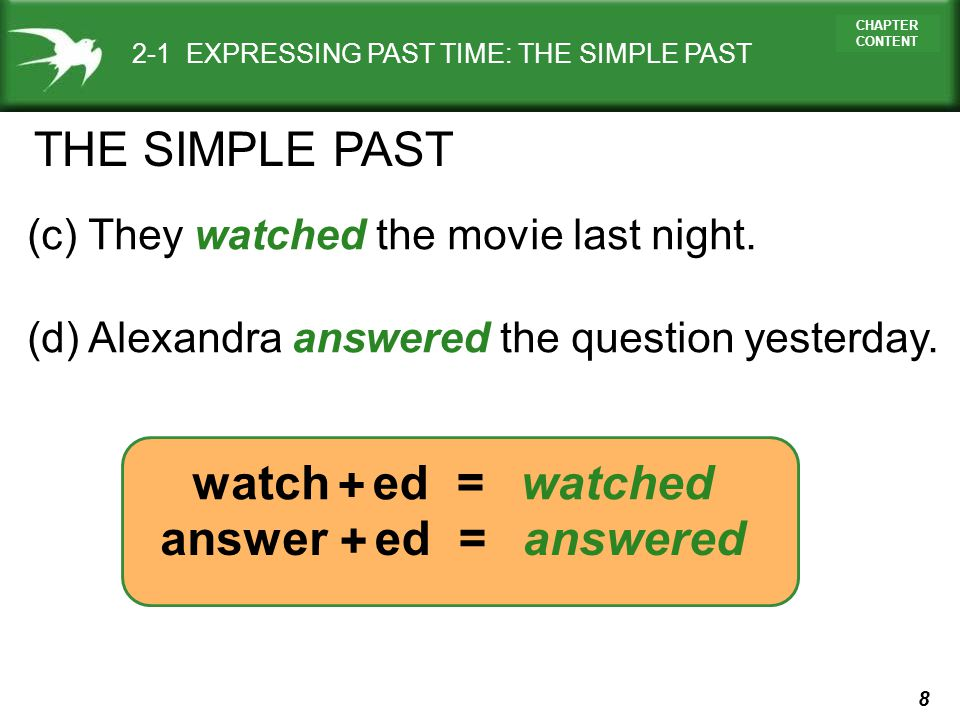 THE SIMPLE PAST watch + ed = watched answer + ed = answered