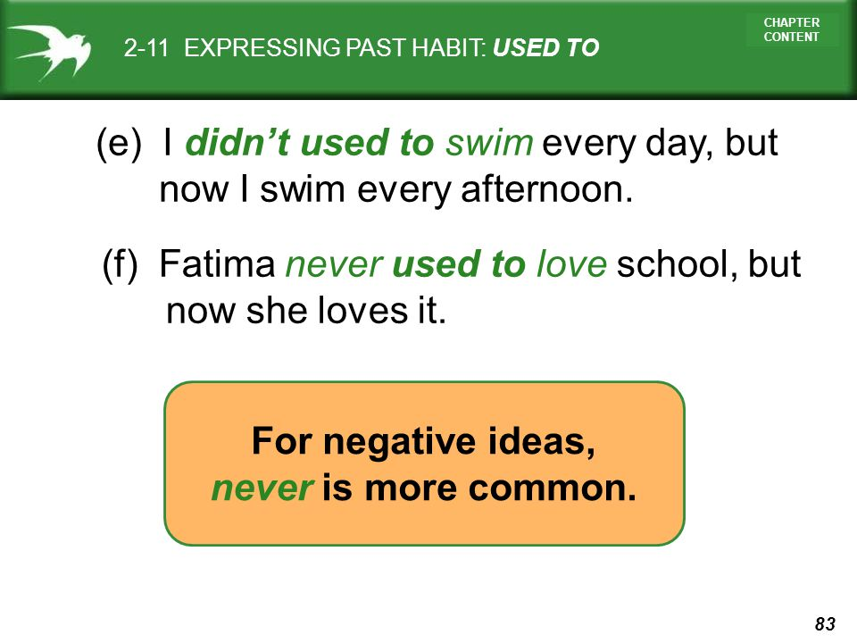 For negative ideas, never is more common.