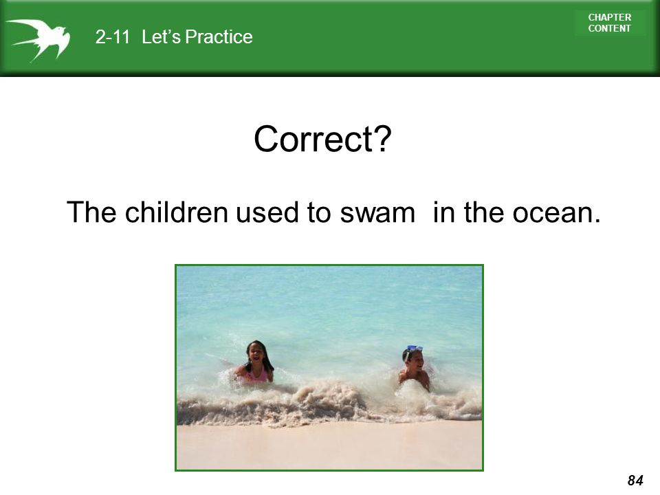 2-11 Let's Practice Correct The children used to swam in the ocean.