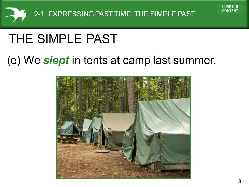 THE SIMPLE PAST (e) We slept in tents at camp last summer.