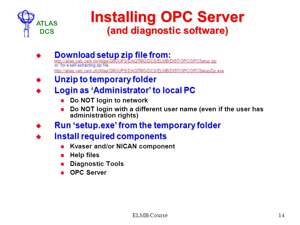Installing OPC Server (and diagnostic software)