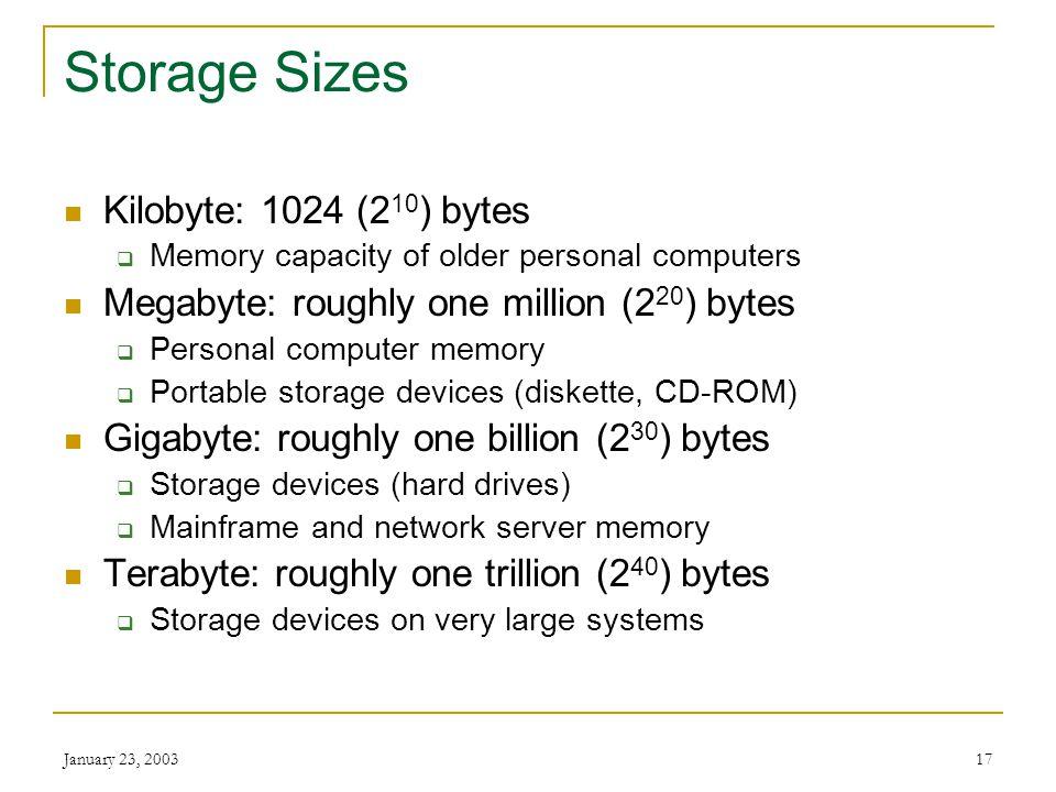 Storage Sizes Kilobyte: 1024 (210) bytes