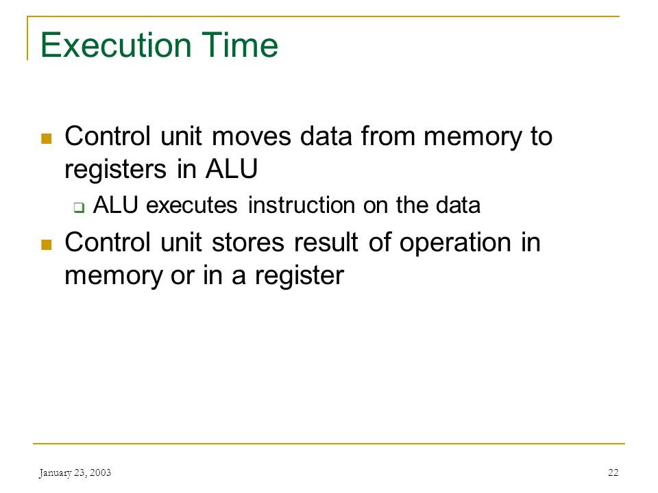 Execution Time Control unit moves data from memory to registers in ALU