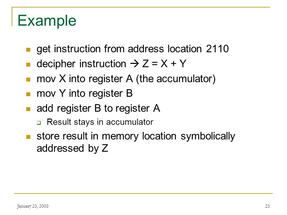 Example get instruction from address location 2110