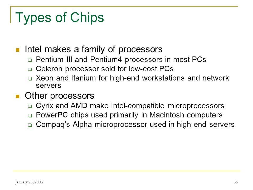 Types of Chips Intel makes a family of processors Other processors