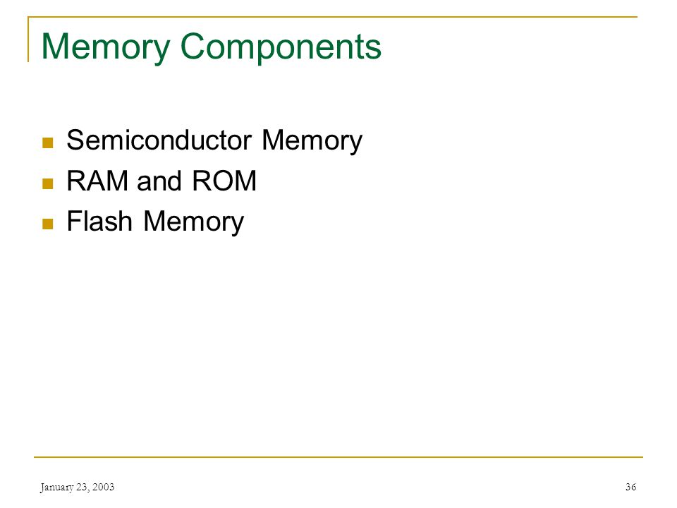Memory Components Semiconductor Memory RAM and ROM Flash Memory