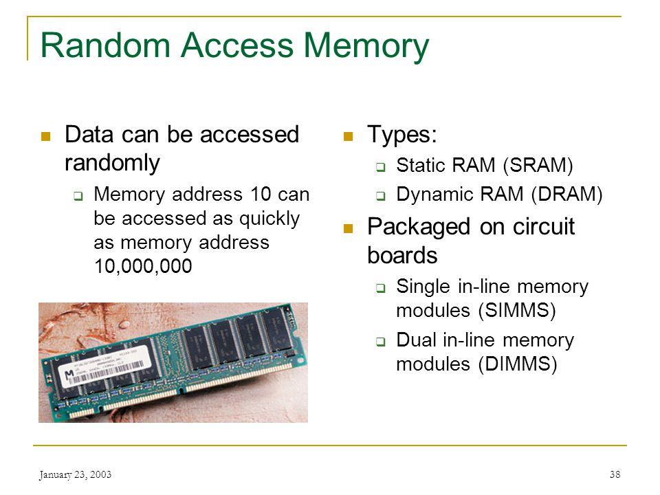 Random Access Memory Data can be accessed randomly Types: