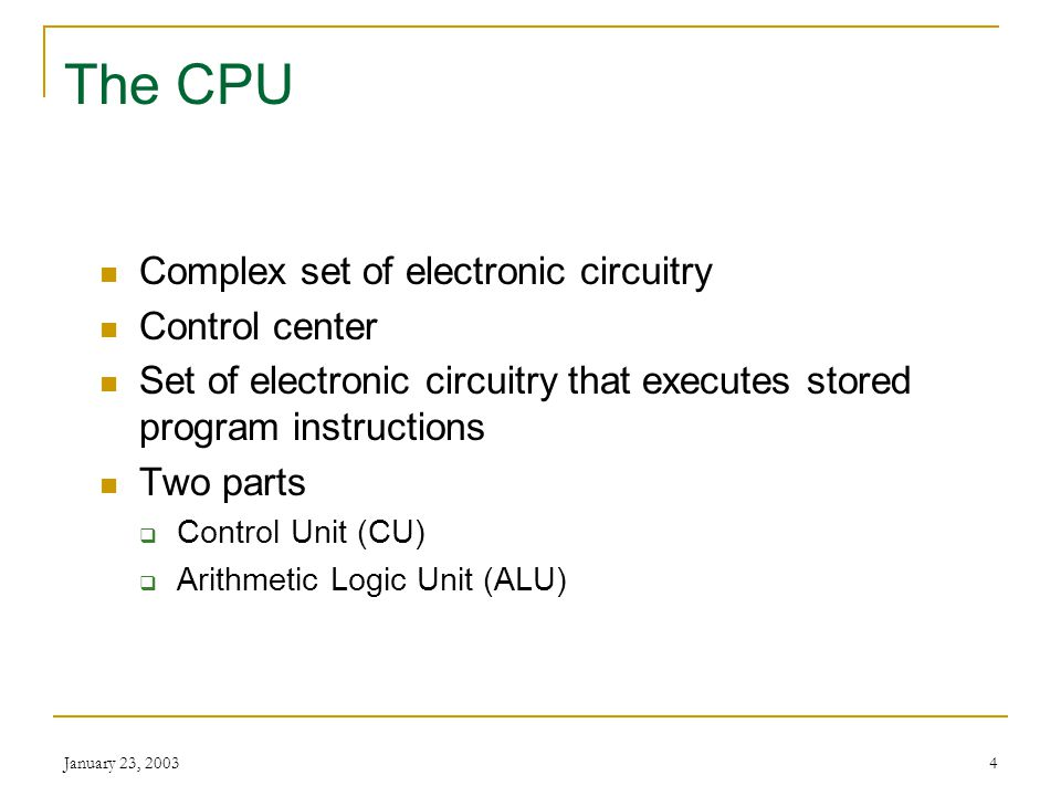The CPU Complex set of electronic circuitry Control center
