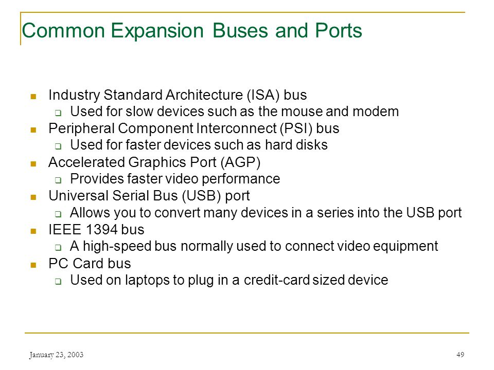 Common Expansion Buses and Ports