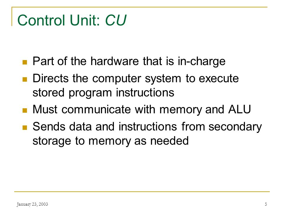 Control Unit: CU Part of the hardware that is in-charge