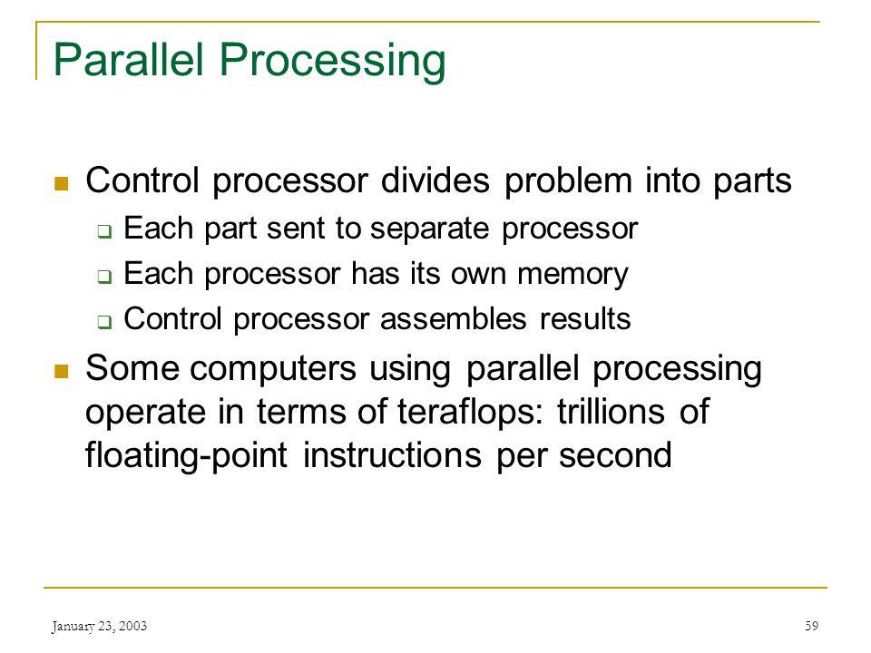 Parallel Processing Control processor divides problem into parts