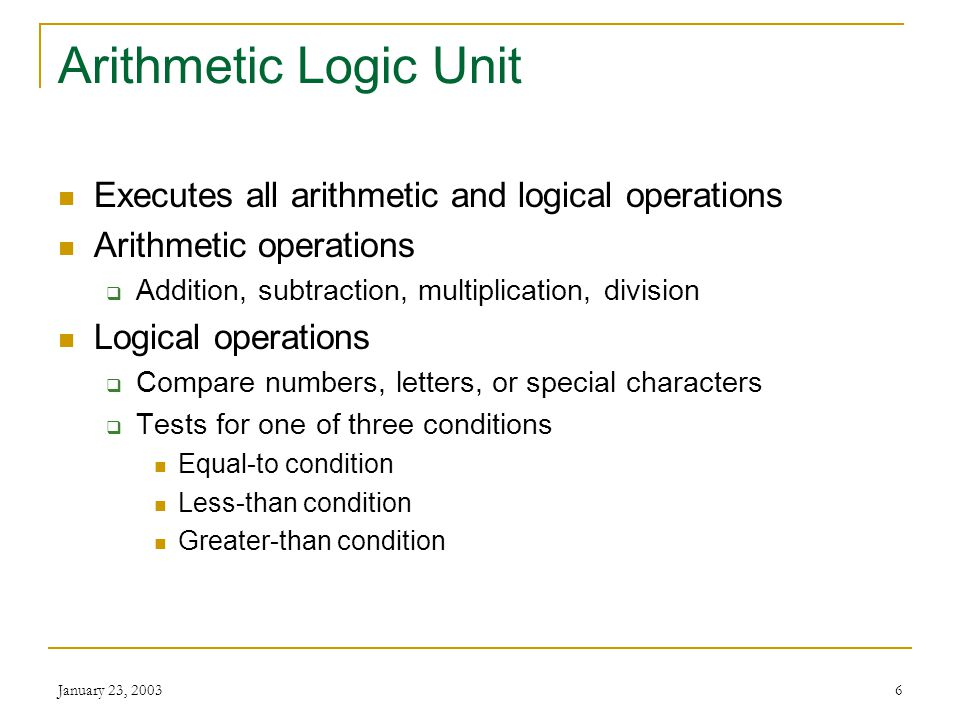 Arithmetic Logic Unit Executes all arithmetic and logical operations
