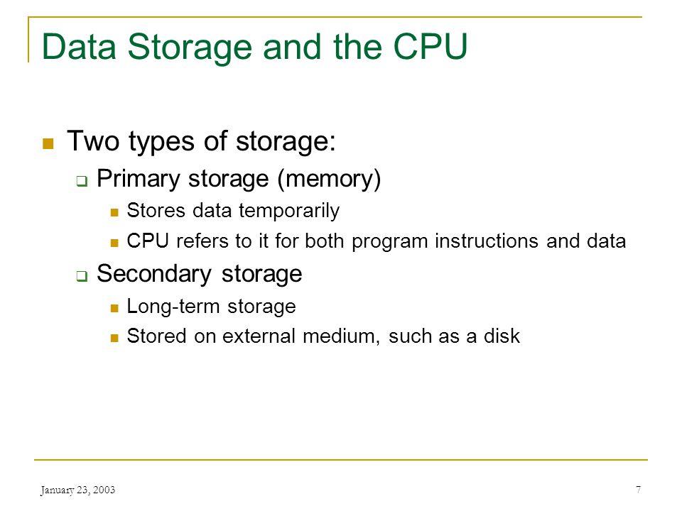 Data Storage and the CPU