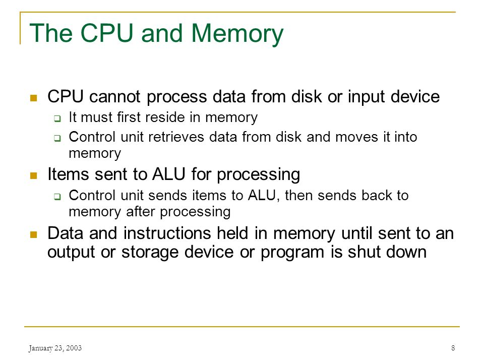The CPU and Memory CPU cannot process data from disk or input device