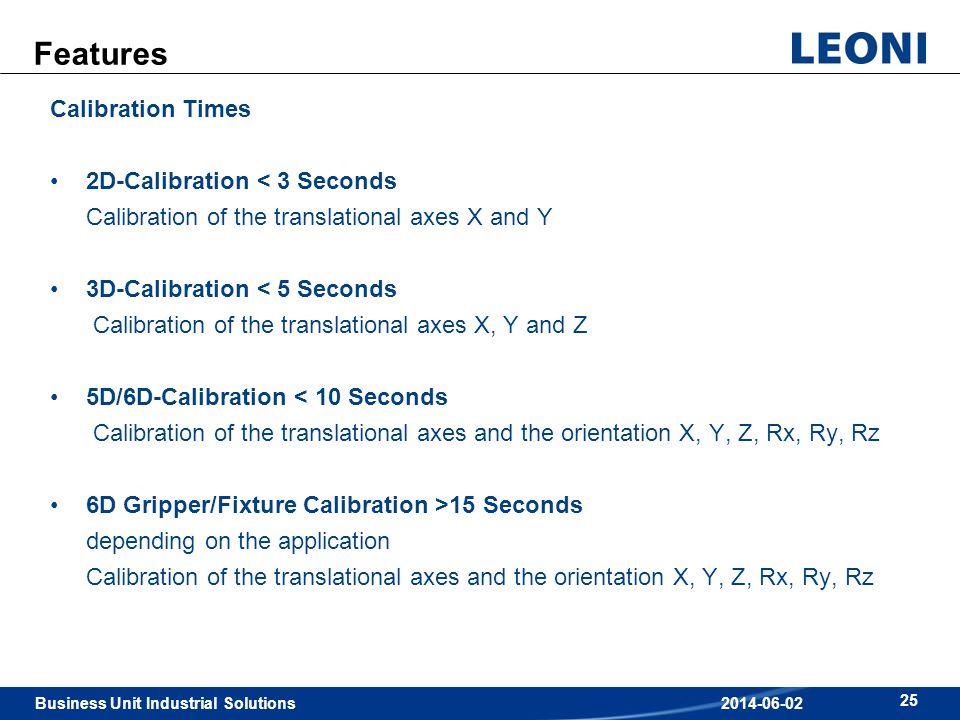 Features Calibration Times 2D-Calibration < 3 Seconds