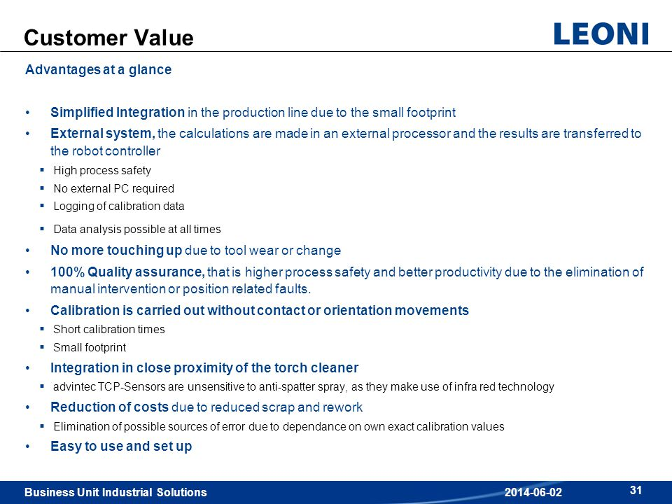 Customer Value Advantages at a glance