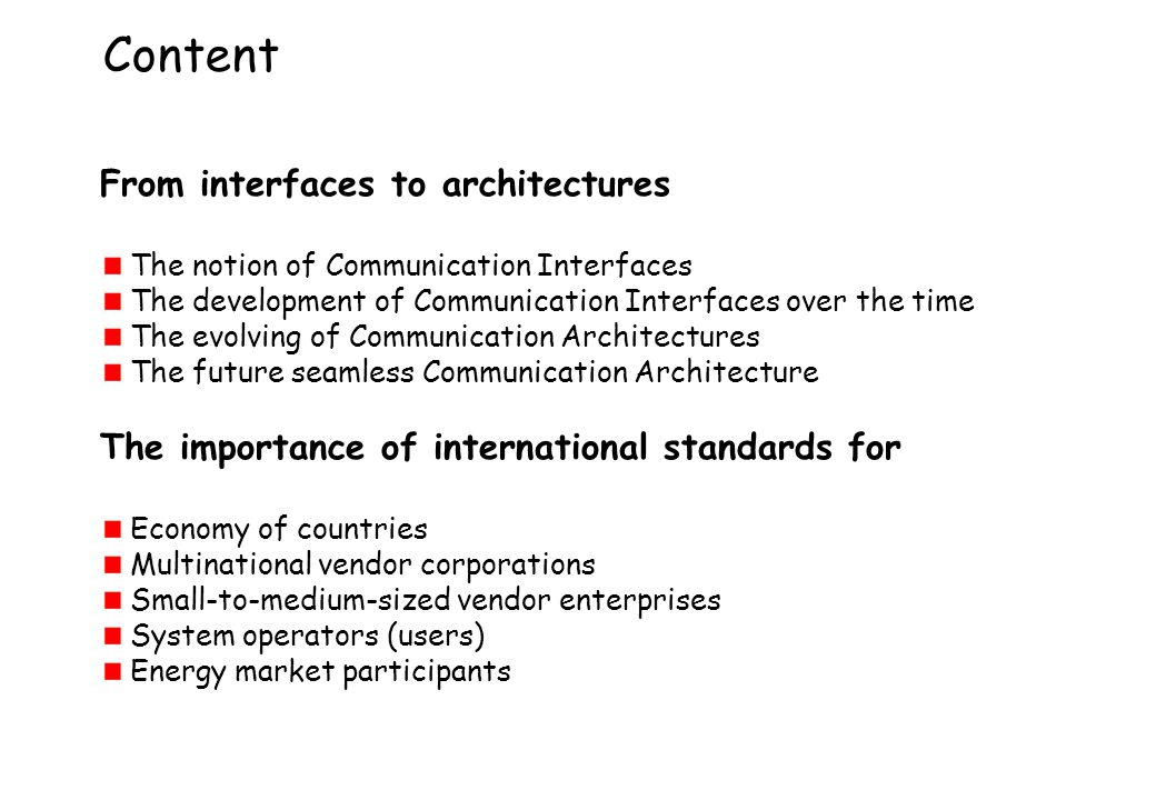 Content From interfaces to architectures