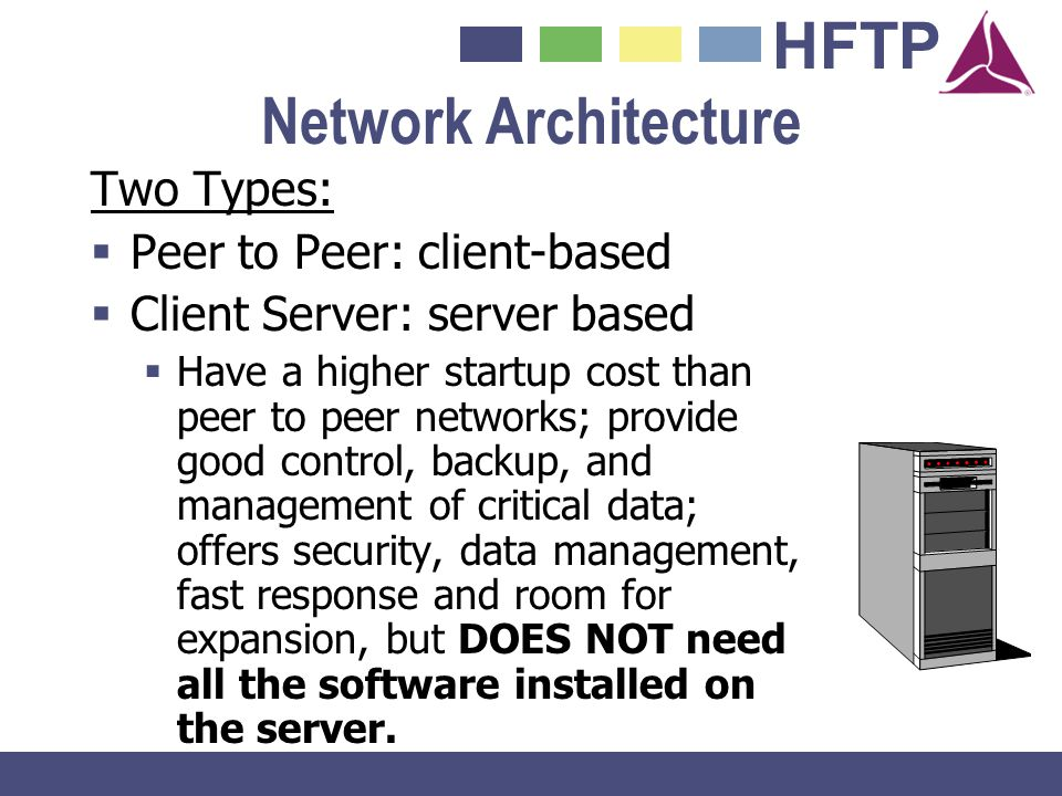 Network Architecture Two Types: Peer to Peer: client-based