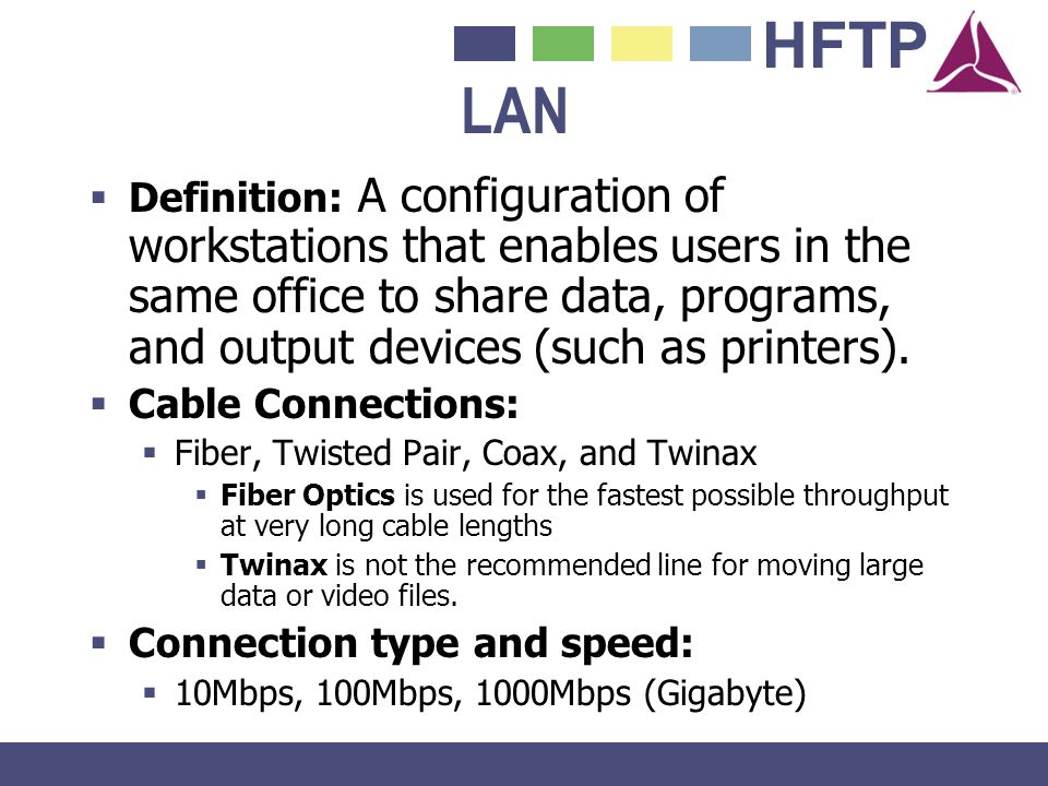 LAN Definition: A configuration of workstations that enables users in the same office to share data, programs, and output devices (such as printers).