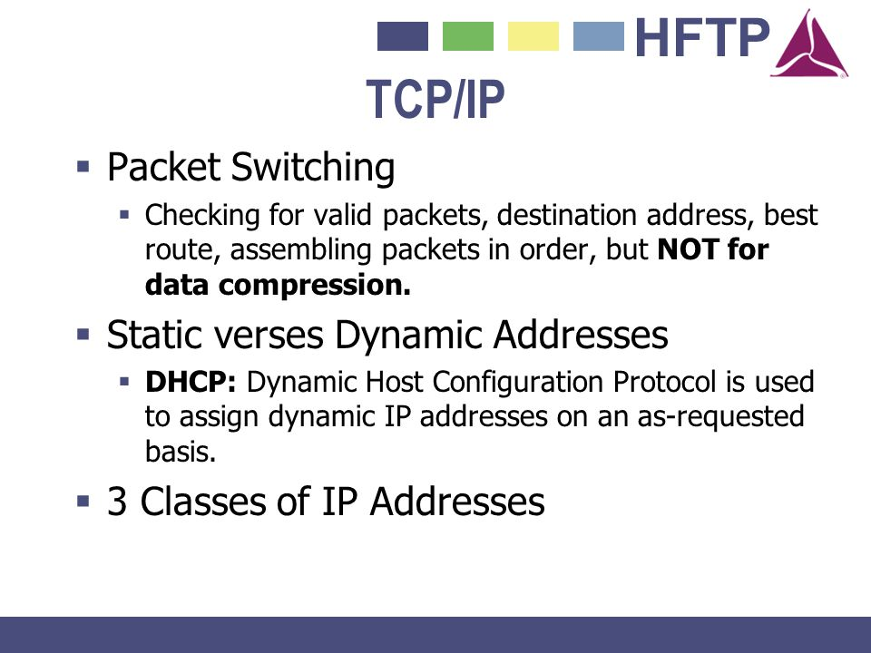 TCP/IP Packet Switching Static verses Dynamic Addresses