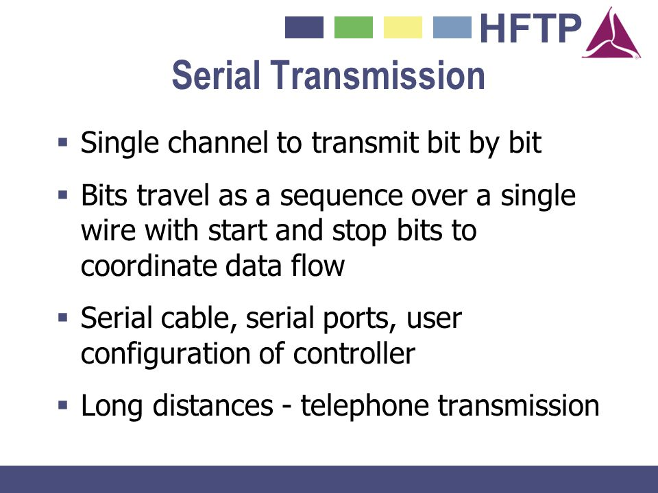 Serial Transmission Single channel to transmit bit by bit