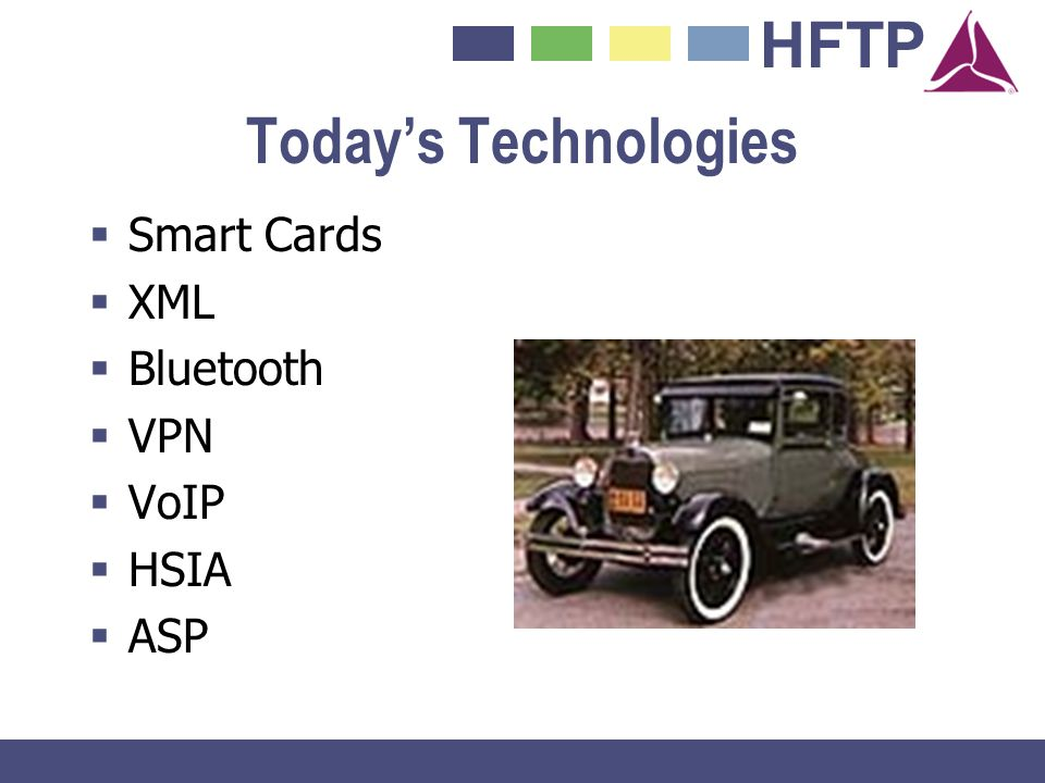 Today's Technologies Smart Cards XML Bluetooth VPN VoIP HSIA ASP